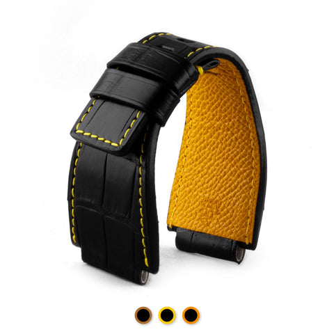 Bell & Ross - Bracelet montre cuir - Alligator couture contrastée (noir / jaune, noir / marron, noir / orange)