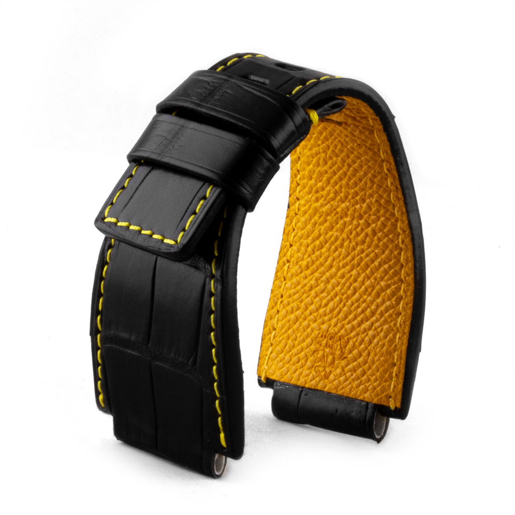 Bell & Ross - Bracelet montre cuir - Alligator couture contrastée (noir / jaune, noir / marron, noir / orange) - watch band leather strap - ABP Concept -