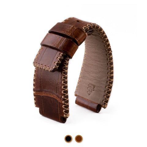 Bell & Ross - Bracelet-montre cuir - Alligator couture tribale (noir / marron, marron / marron)