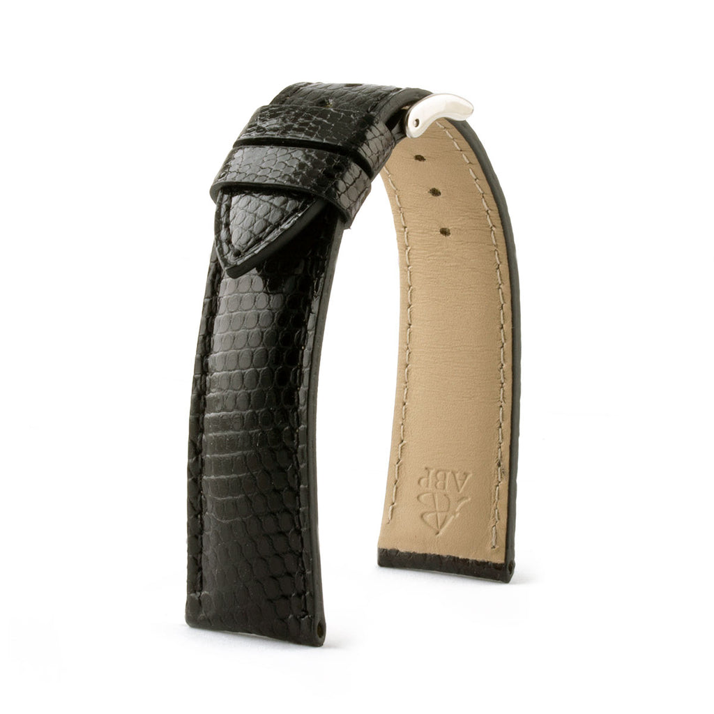 bracelet montre cuir lézard lizard watch band strap noir black