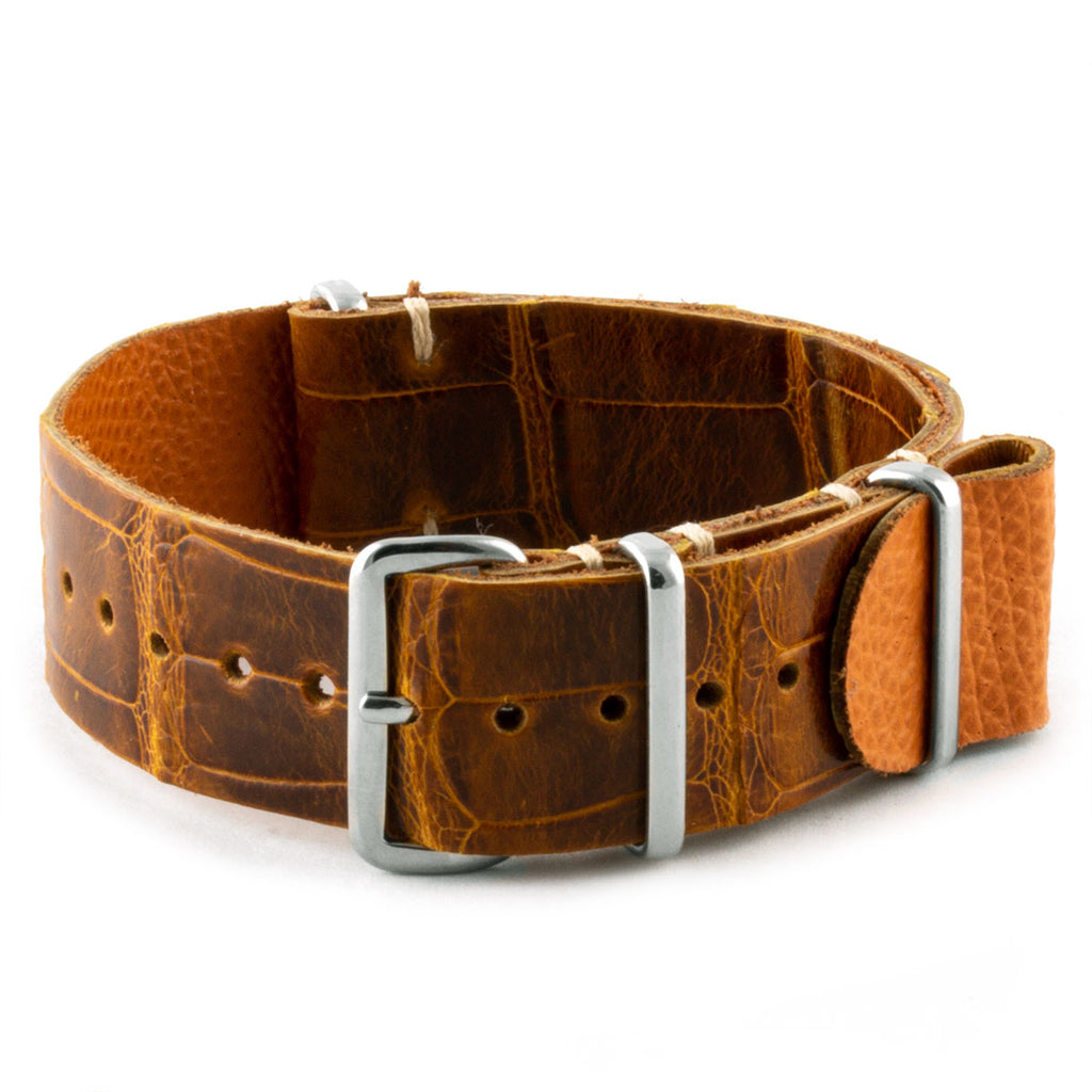 Bracelet-montre nato cuir - Alligator tannage spécial marron Highland - watch band leather strap - ABP Concept -