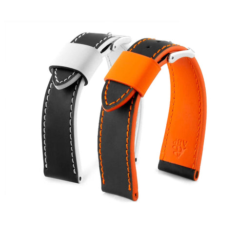 Patek Philippe Aquanaut - Bracelet-montre cuir - Veau caoutchouté / Rubber noir contrasté blanc / orange - watch band leather strap - ABP Concept -