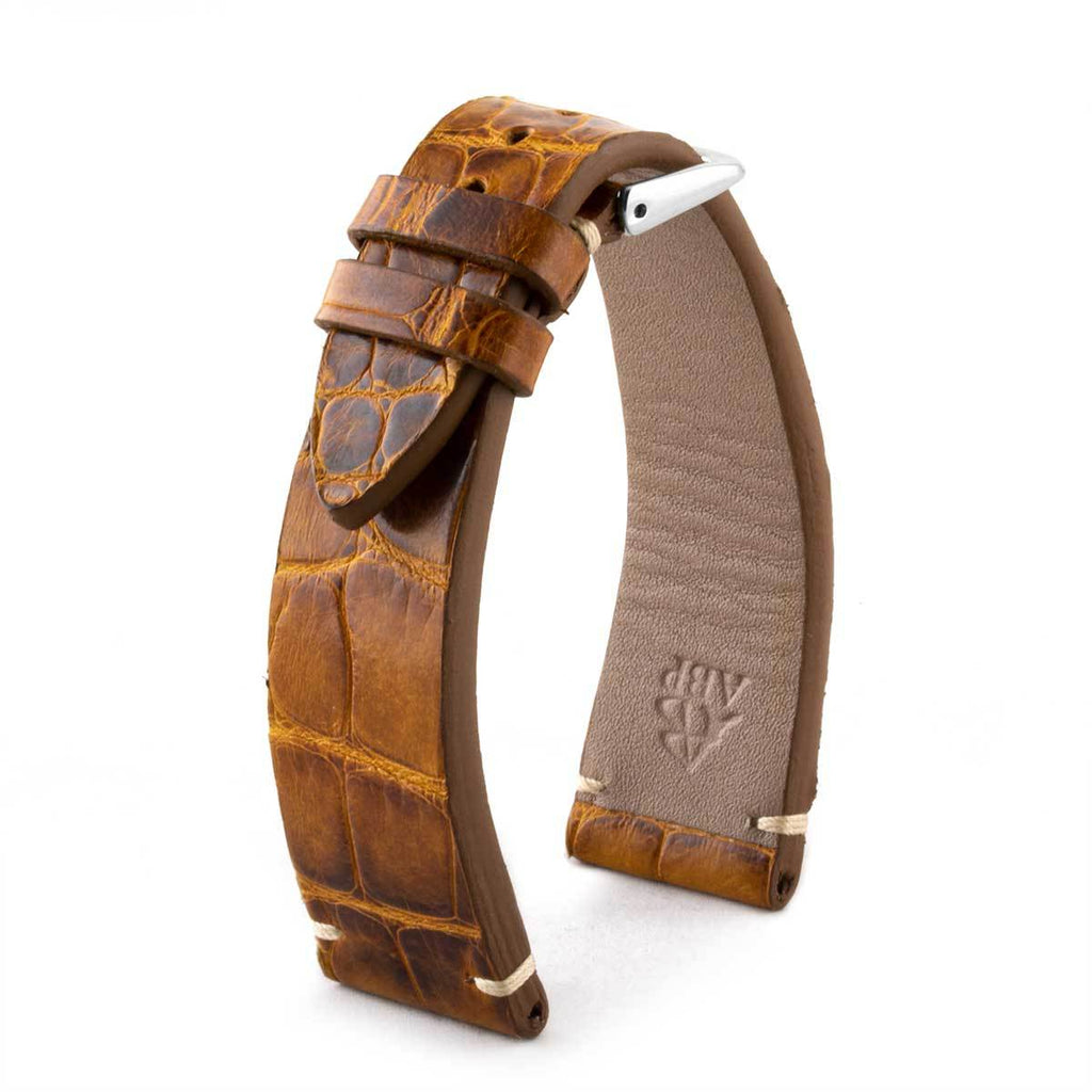 Bracelet-montre cuir - Alligator tannage spécial marron Highland - watch band leather strap - ABP Concept -