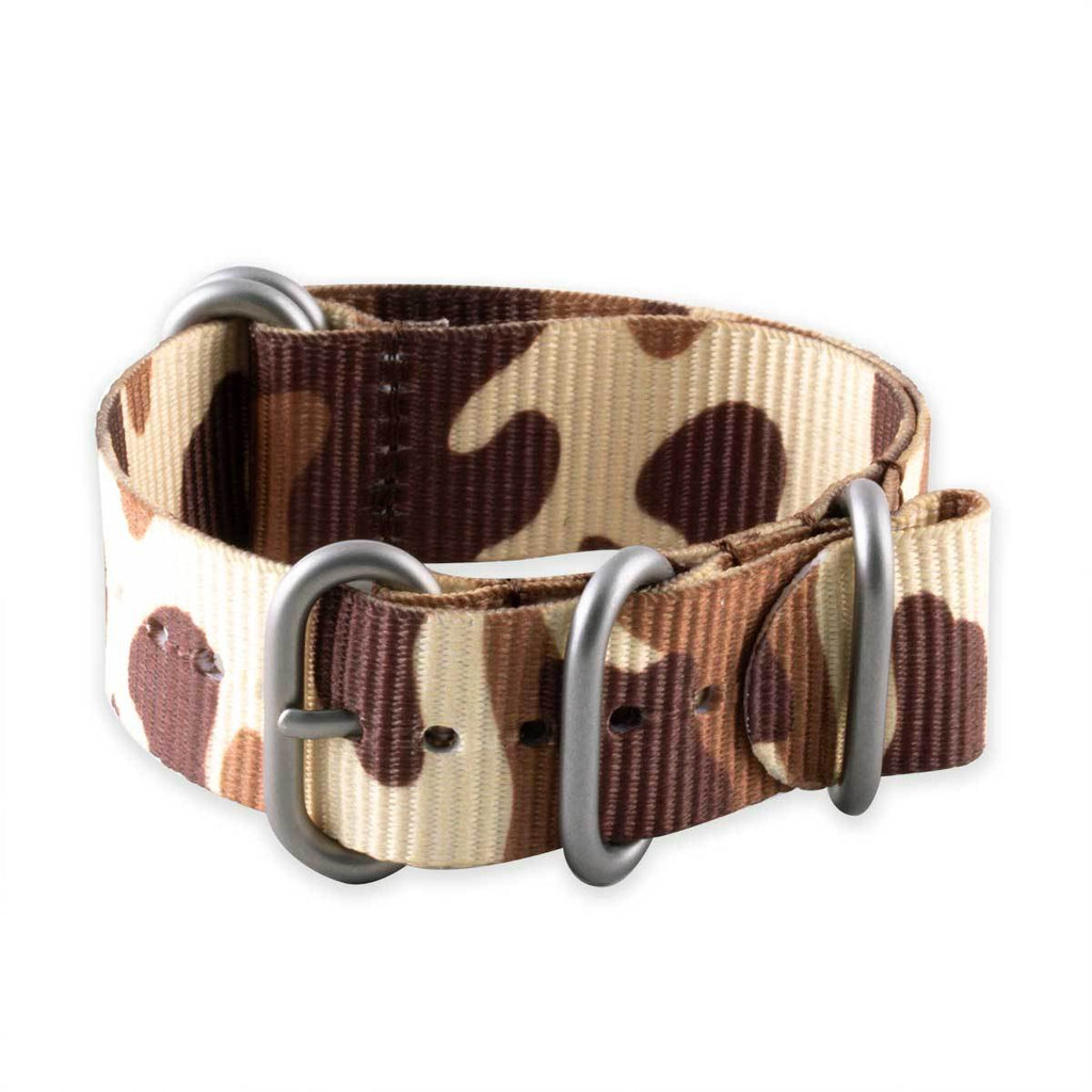 Bracelet montre Zulu 5 anneaux - Nylon / tissu Camo (marron, marron/vert, gris) - watch band leather strap - ABP Concept -