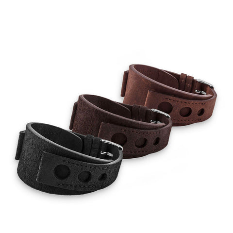 "Bracelet bund vintage ""racing"" - Bracelet-montre cuir - Veau (noir, marron) - watch band leather strap - ABP Concept -"