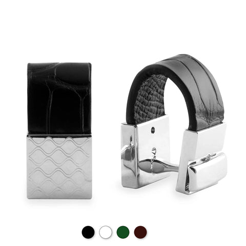 Boutons de manchettes cuir - Alligator - watch band leather strap - ABP Concept -