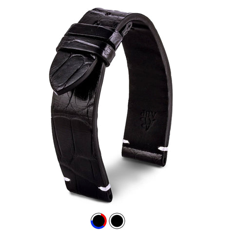 Bracelet pour montre cuir - Diplomate - Alligator noir - watch band leather strap - ABP Concept -