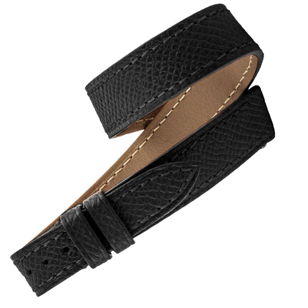 Hermès - Bracelet-montre cuir Double tour - Veau grainé (noir, marron, blanc, rouge...) - watch band leather strap - ABP Concept -