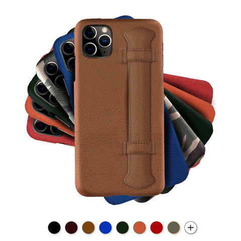 "Coque ""Strap Case"" cuir pour iPhone 12 et 11 ( Pro / Max / Mini )  - Buffle , Noir , Marron , Bleu , Rouge , Orange..."