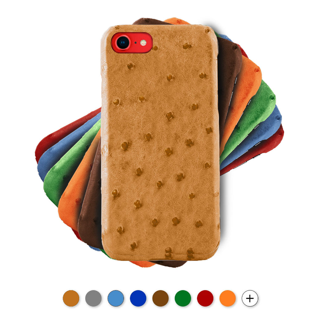 Coque cuir pour iPhone - SE (2020) / 8 Plus / 8 / 7 Plus / 7 - Autruche , Marron , Orange , Bleu , Rouge , Gris...