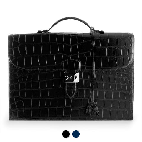 Serviette Business en Cuir - Alligator (noir, bleu)