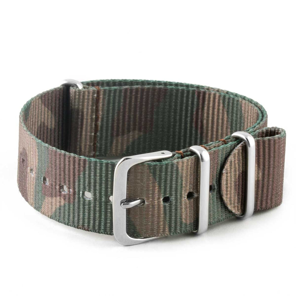 Bracelet montre Nato - Nylon / Tissu - Camo (bleu, gris, marron, vert) - watch band leather strap - ABP Concept -