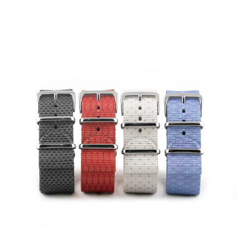 Bracelet montre Nato - Nylon / Tissu - Wall Street (gris, rouge, blanc, bleu) - watch band leather strap - ABP Concept -