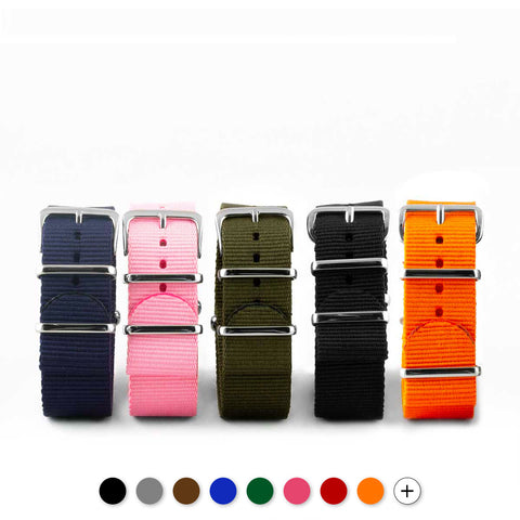 Bracelet de montre Nato - Nylon / Tissu - Couleur unie (noir, marron, gris, bleu, rouge, blanc, orange, kaki, rose...) - watch band leather strap - ABP Concept -