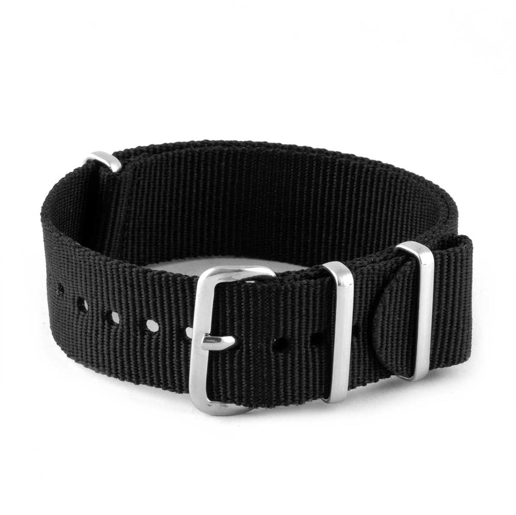 Bracelet montre Nato - Nylon / Tissu - Noir - watch band leather strap - ABP Concept -