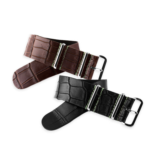 Panerai Luminor - Bracelet-montre Nato - Alligator (noir, marron) - watch band leather strap - ABP Concept -
