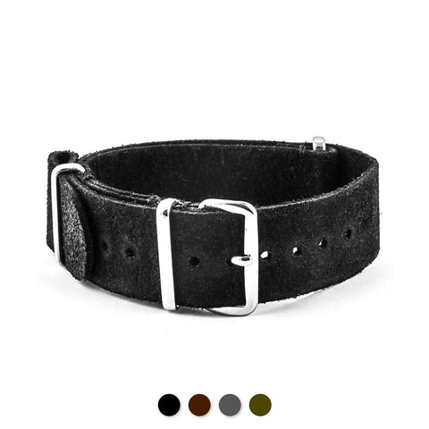 Bracelet-montre Nato cuir - Veau brossé (noir, marron, gris, kaki) - watch band leather strap - ABP Concept -