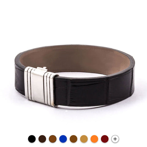 Bracelet Opéra - Bracelet ornemental cuir - Alligator - watch band leather strap - ABP Concept -