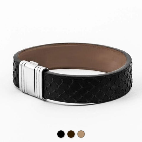Bracelet Opéra - Bracelet ornemental cuir - Python - watch band leather strap - ABP Concept -