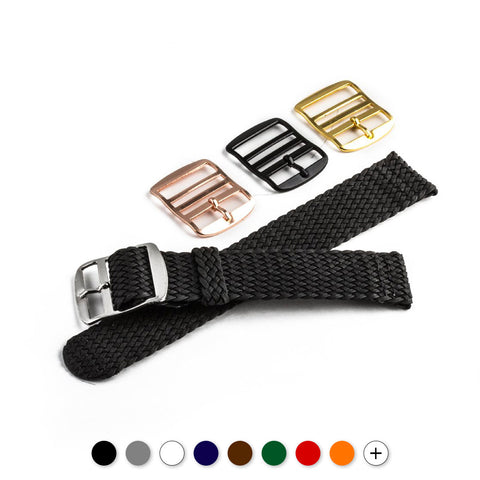 Bracelet pour montre Tissu tressé (jaune, orange, rose saumon, rouge bordeaux, rouge, kaki clair...) - watch band leather strap - ABP Concept -