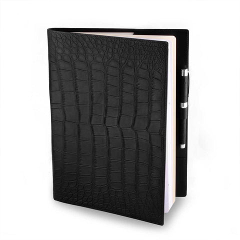 Couverture pour agenda & cahier en cuir - Alligator - watch band leather strap - ABP Concept -