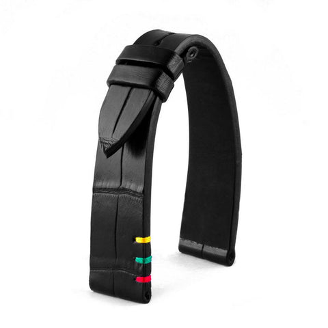 Bracelet classique - Power - Alligator noir - watch band leather strap - ABP Concept -