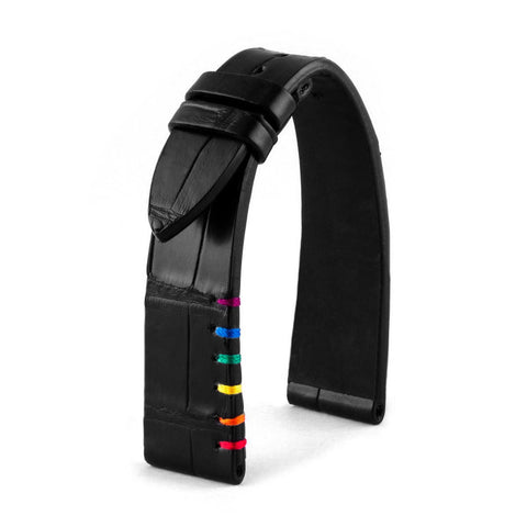 Bracelet classique - Pride - Alligator noir - watch band leather strap - ABP Concept -