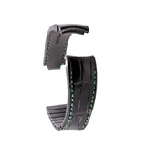 Rolex – Bracelet pour montre cuir R Strap  – Alligator noir contrasté (bleu, marron, gris, vert...) - watch band leather strap - ABP Concept -