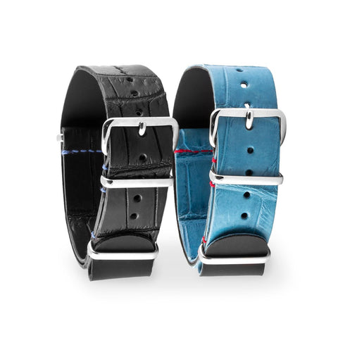 Rolex - Bracelet montre nato - Alligator (noir, bleu) - watch band leather strap - ABP Concept -