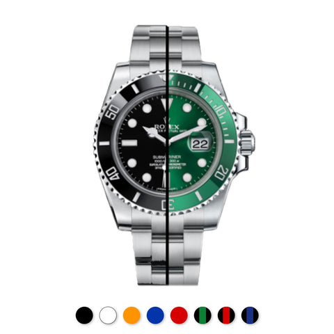 Rolex - Rubber B - Bracelet caoutchouc pour Submariner Ceramic - Série boucle ardillon - watch band leather strap - ABP Concept -
