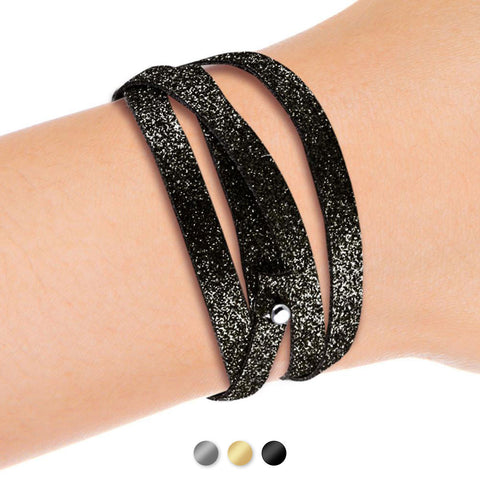 Bracelet spartiate veau pailleté - watch band leather strap - ABP Concept -