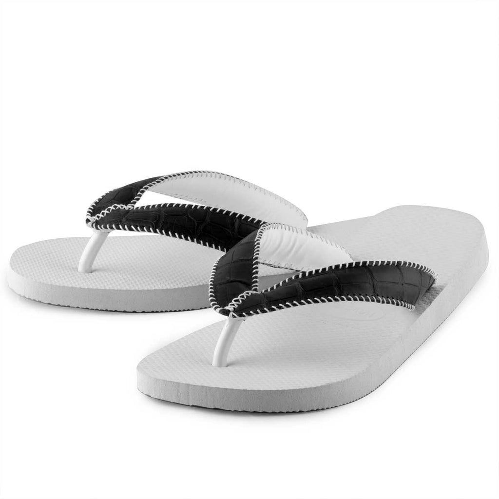 Tongs alligator – Havaianas customisées blanches– Alligator sauvage - watch band leather strap - ABP Concept -