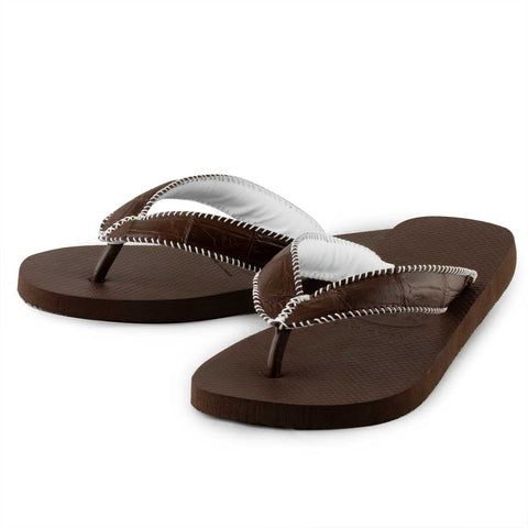 Tongs alligator – Havaianas customisées marron – Alligator sauvage