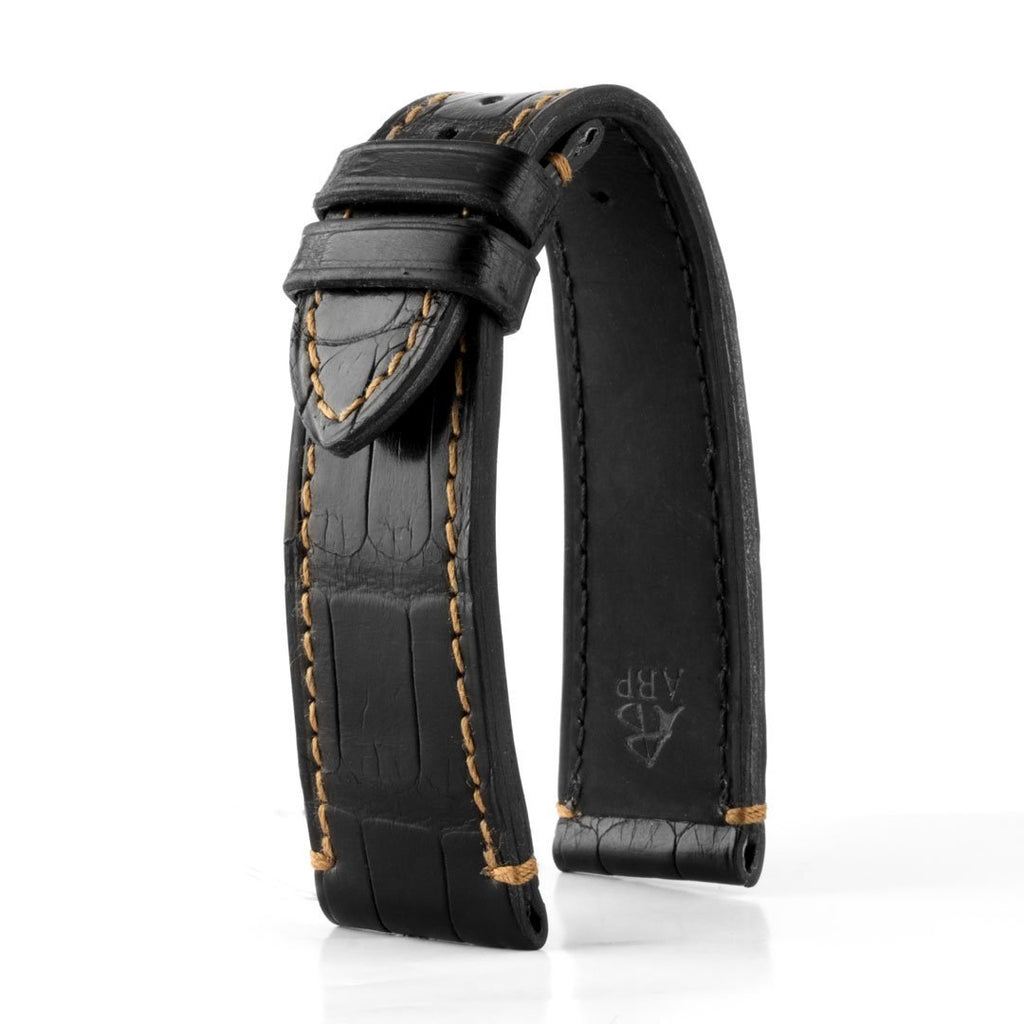 Tudor Black Bay Heritage - Bracelet de montre cuir - Alligator tannage waxé (noir, marron) - watch band leather strap - ABP Concept -