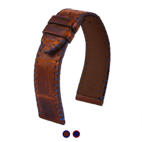 Bracelet montre cuir - Yachting couture semi tribale - Alligator (marron / bleu, bleu / marron)