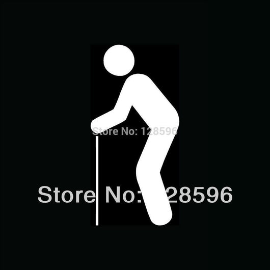 Mobility Buy LTD OLD MAN WITH CANE Icon Sticker for Car Truck Window Walker Disabled Retire Slow Cute