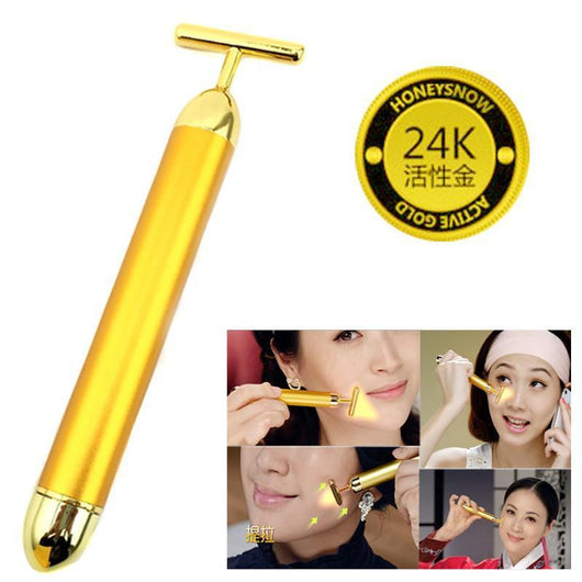 Mobility Buy LTD Slimming Face 24k Gold Vibration Facial Beauty Roller Massager Stick Lift Skin Tightening Wrinkle Stick Bar Face Skin Care