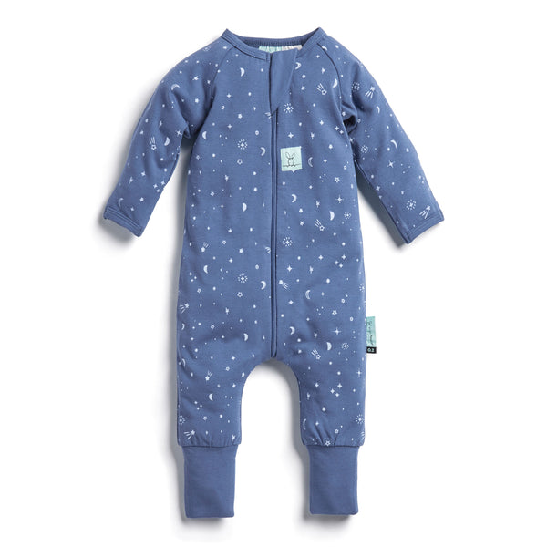 Long Sleeve Organic Cotton Pajamas (0.2 Tog) - Night Sky with 3-way zip