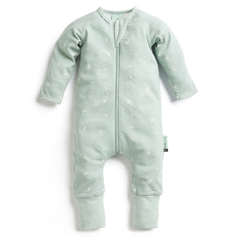 Long Sleeve Organic Cotton Pajamas (1.0 Tog) - Sage with 3-way zip