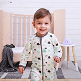 Long Sleeve Organic Cotton Pajamas (0.2 Tog) - Clouds with 2-way zip