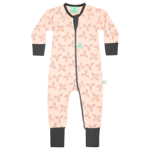 Long Sleeve Organic Cotton Pajamas (0.2 Tog) - Petals with 2-Way Zip