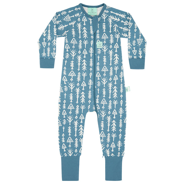 Long Sleeve Organic Cotton Pajamas (0.2 Tog) - Midnight Arrows with 2-way zip