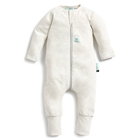 Long Sleeve Organic Cotton Pajamas (0.2 Tog) - Grey Marle with 3-way zip