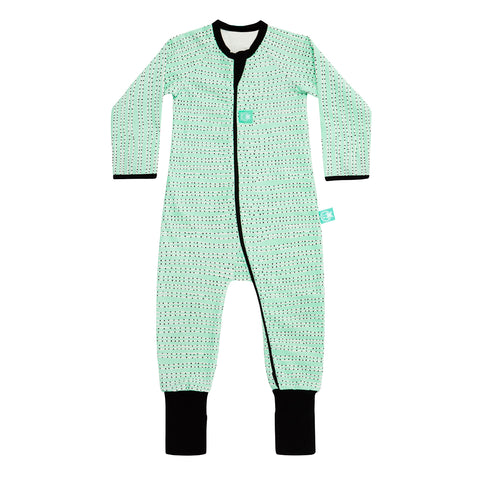 Long Sleeve Organic Cotton Pajamas (0.2 Tog) - HoneyDew Dot with 2-way zip