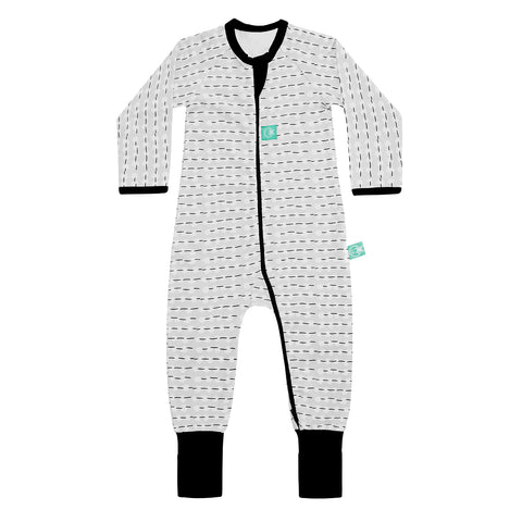 Long Sleeve Organic Cotton Pajamas (0.2 Tog) - MoonBeam Drop with 2-way zip