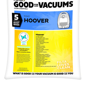 HOOVER VACUUM DUST BAGS 5 PACK 20019