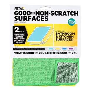 Microfibre Cloth with Silver Scourer 2 Pack