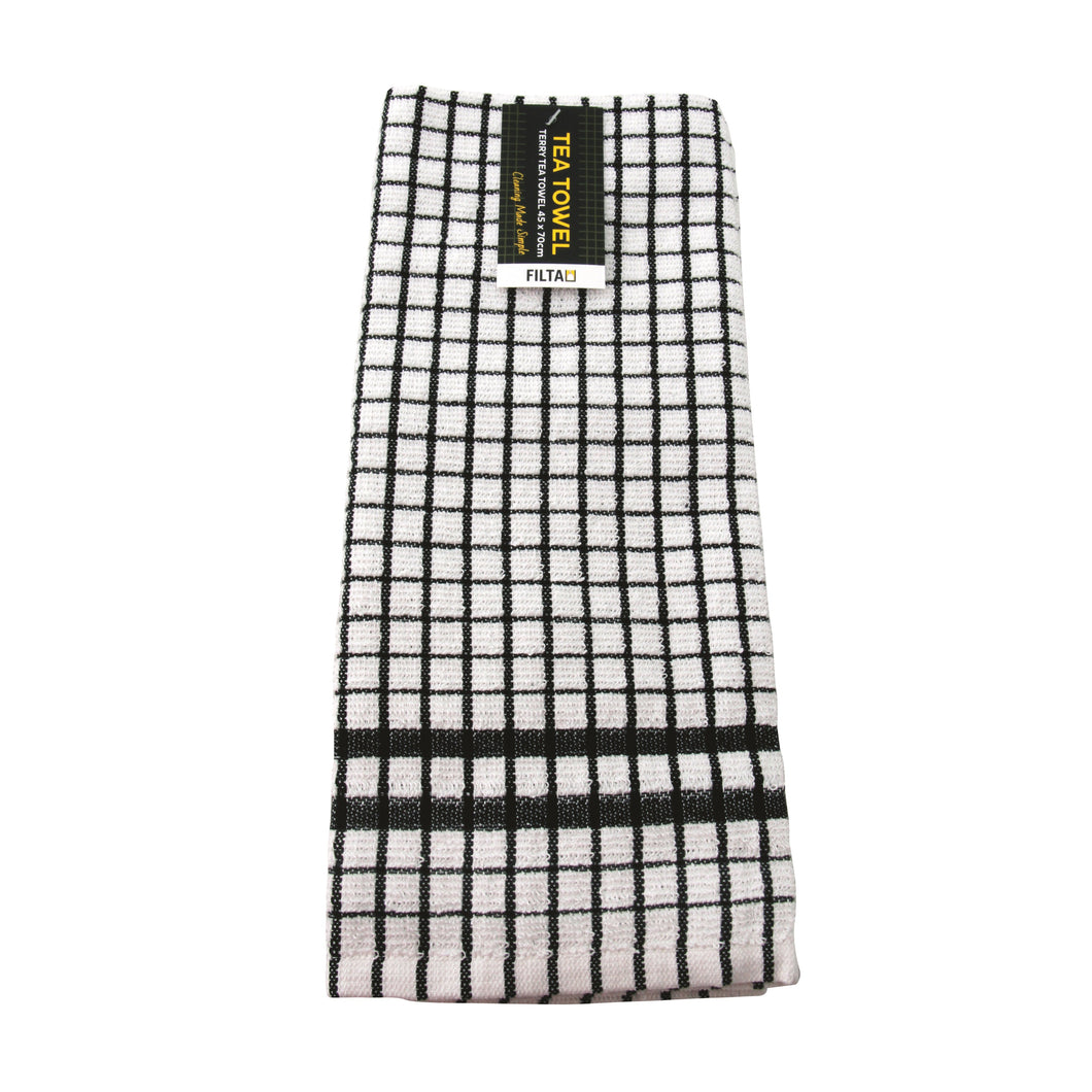 Tea Towel Black Cotton Terry 31003