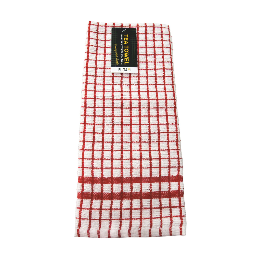 Tea Towel Black Cotton Red 31004