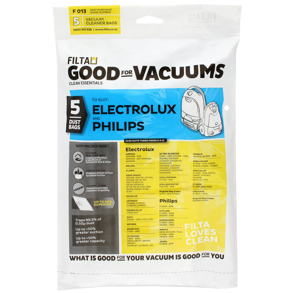 Electrolux/ Phillips Vacuum Dust Bag pack 5 51012 (F013) Filta